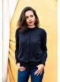 Silk and Cashmere & More Edelina Modal ve Pamuklu Yuvarlak Yaka Hırka Siyah